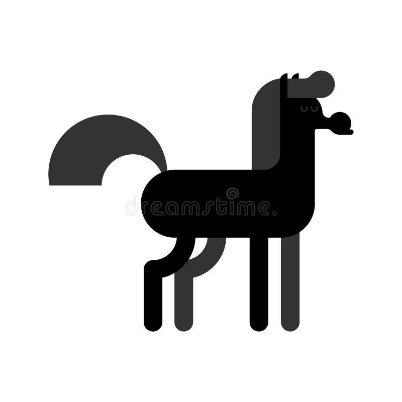 черная изолированная лошадь Животная equine иллюстрация вектора бесплатная иллюстрация