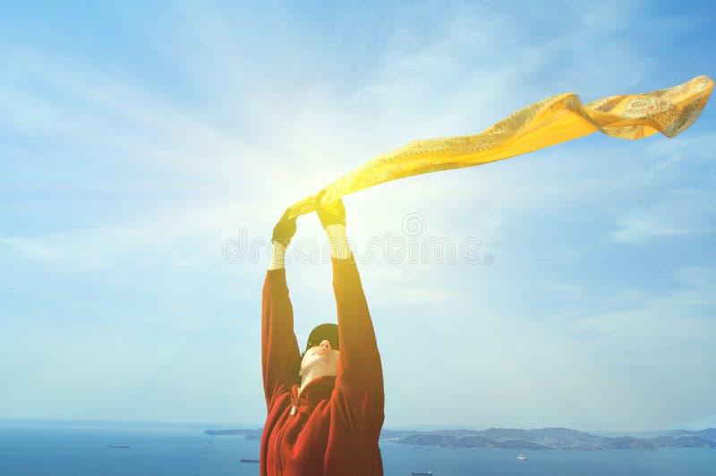 черная изолированная свобода принципиальной схемы красивейший шарф девушки стоковые фото