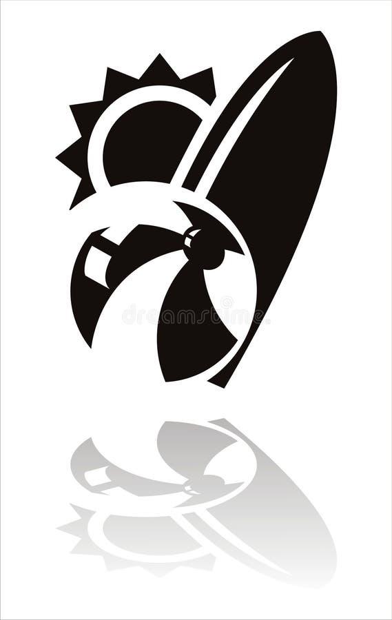 черная икона резвится лето иллюстрация вектора