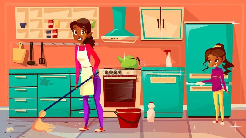 Черная иллюстрация вектора кухни чистки домохозяйки иллюстрация вектора