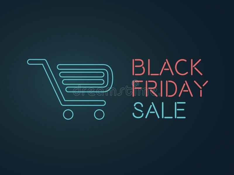 Черная иллюстрация знамени вектора пятницы неоновая Покупки, скидки, специальный шаблон рекламы продвижения бесплатная иллюстрация