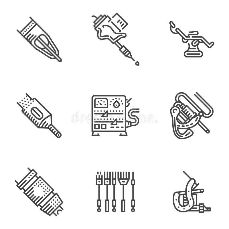 Черная линия значки для оборудования татуировки иллюстрация штока