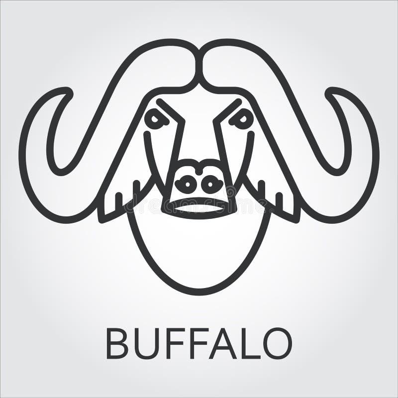 Черная линия искусство стиля значка, головной буйвол дикого животного, бык иллюстрация вектора