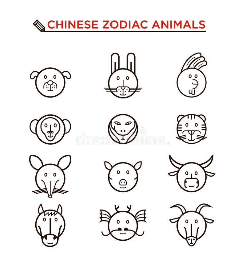 Черная линия китайские значки животного зодиака бесплатная иллюстрация