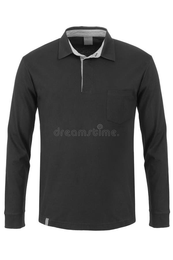 Черная длинная футболка поло рукава стоковая фотография