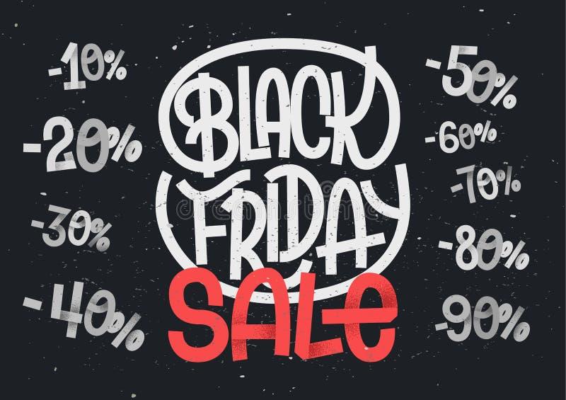 Черная литерность пятницы с процентом нумерует для продаж иллюстрация штока