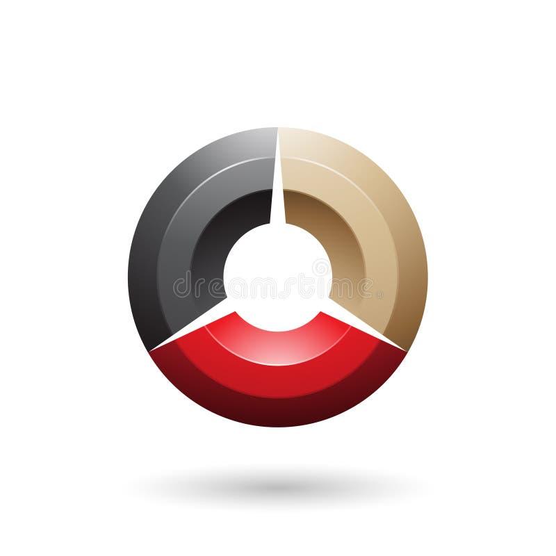 Черная и бежевая лоснистая затеняемая иллюстрация вектора круга иллюстрация штока