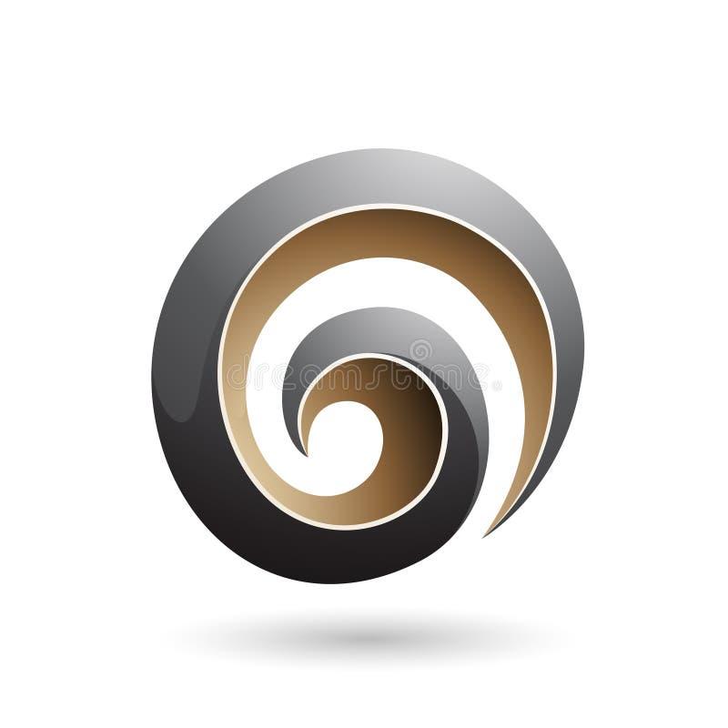 Черная и бежевая лоснистая иллюстрация вектора формы свирли 3d иллюстрация штока