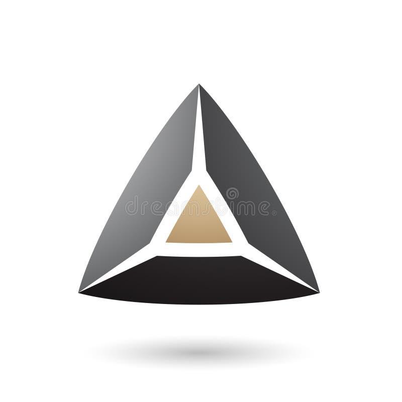 Черная и бежевая Pyramidical иллюстрация вектора формы 3d иллюстрация вектора