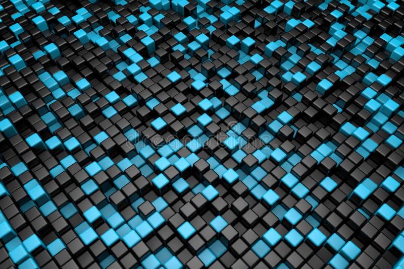 Черная и голубая предпосылка кубов стоковые изображения
