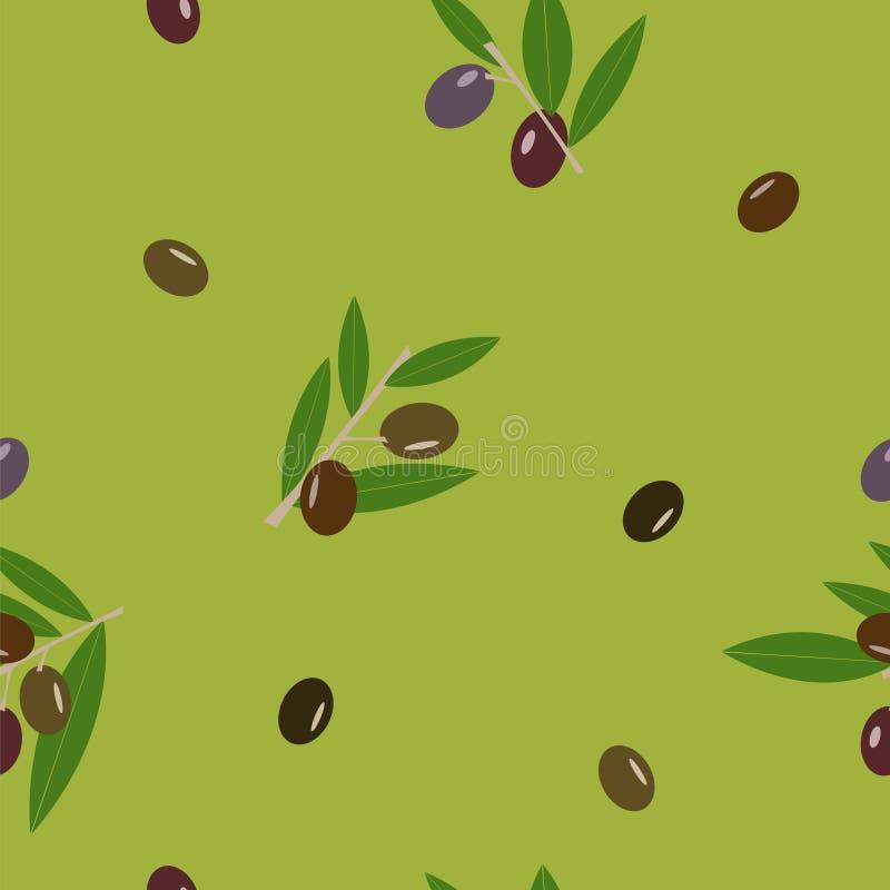Черная и зеленая оливка и листья зеленеют безшовный цветочный узор вектора иллюстрация вектора