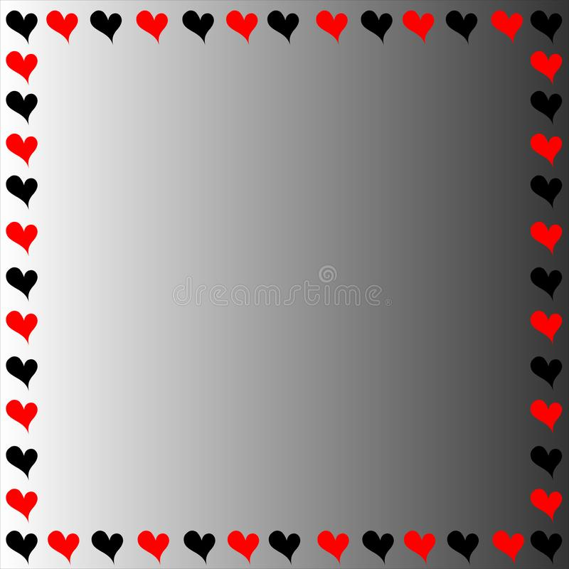 Черная и красная граница сердец стоковые изображения rf