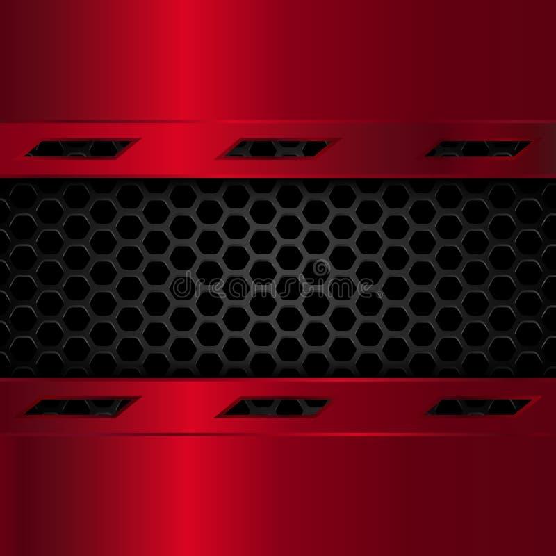 Черная и красная металлическая предпосылка Геометрическая картина шестиугольников с красными металлическими пластинами также вект иллюстрация штока