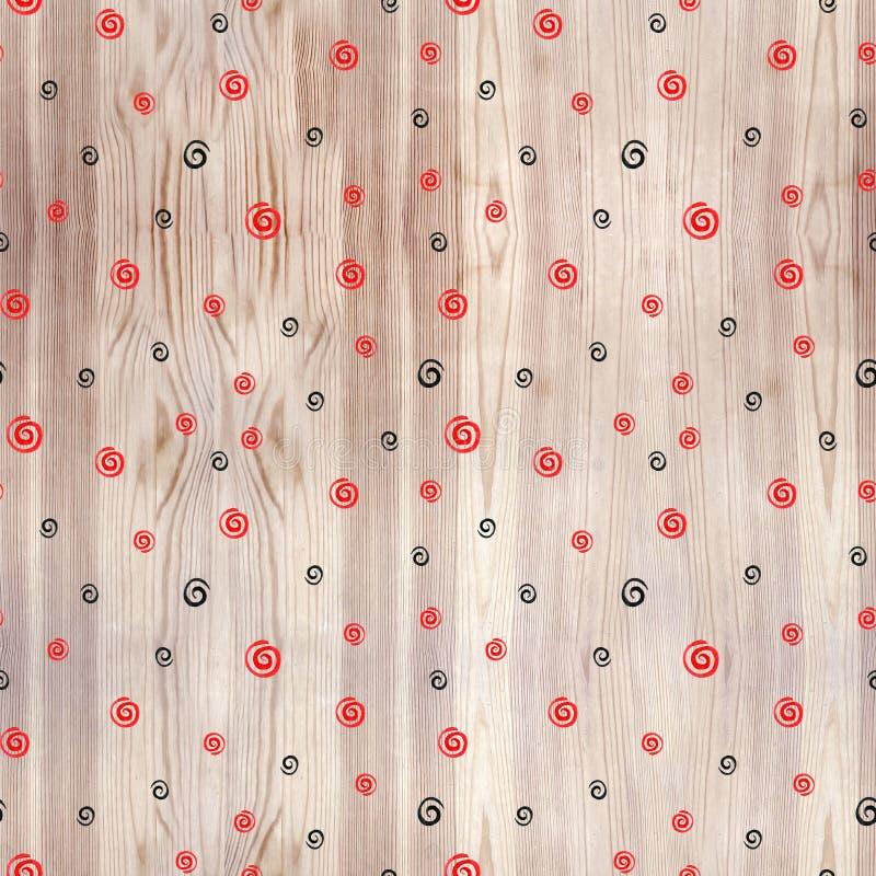 Черная и красная спираль на картине деревянной текстуры безшовной Круги черноты и красной линии на белой предпосылке Геометрическ стоковое фото