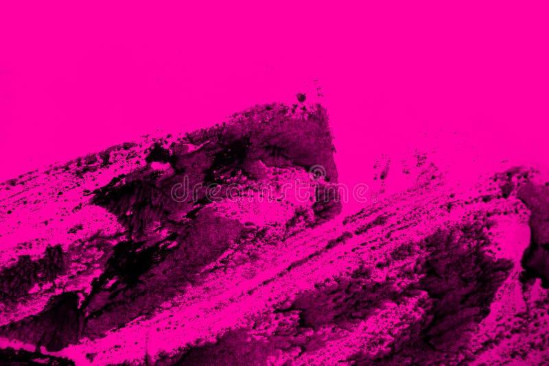 Черная и розовая рука покрасила текстуру предпосылки с ходами щетки grunge иллюстрация штока