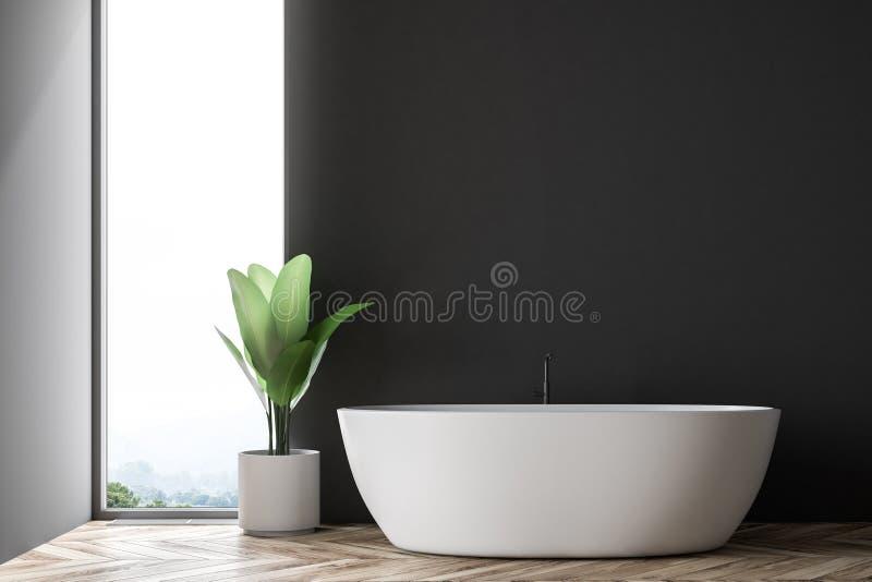 Черная и серая ванная комната внутренняя, белый ушат иллюстрация штока