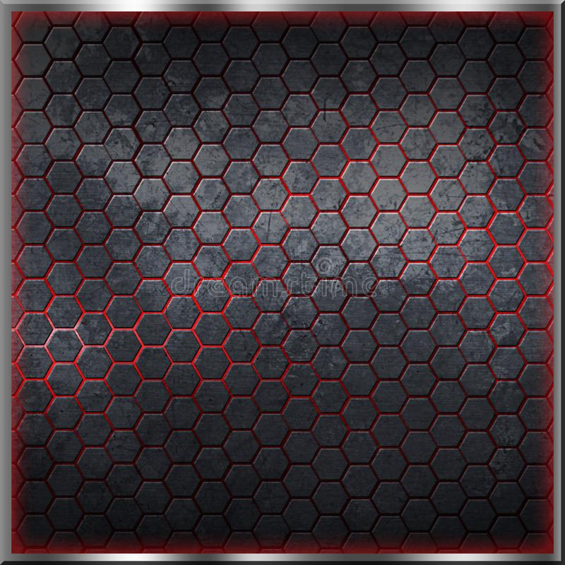 Черная и серая предпосылка шестиугольника с реальной текстурой иллюстрация вектора