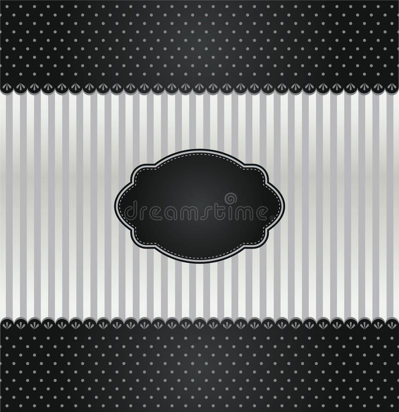 Черная и серебряная крышка приглашения год сбора винограда иллюстрация штока