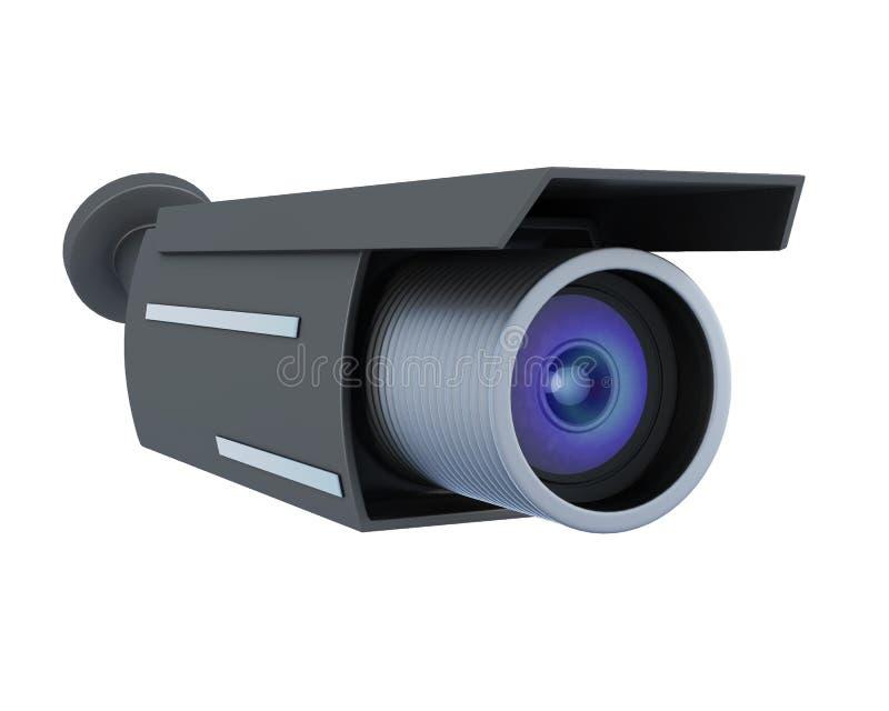 Черная камера слежения изолированная на белой предпосылке перевод 3d иллюстрация вектора