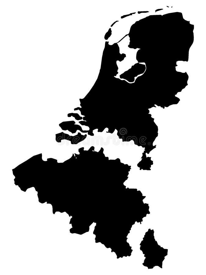 Черная карта Бенелюкса добавила расстояние между странами иллюстрация вектора