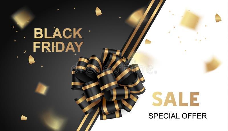 Черная карта продажи пятницы с черным confetti смычка и золота иллюстрация вектора