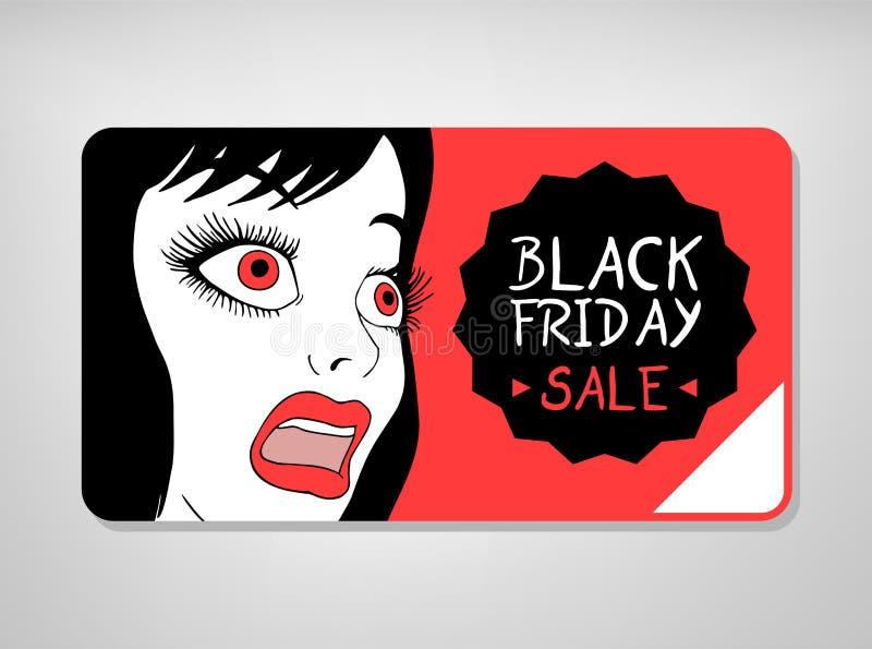 Черная карта пятницы с удивленным выражением женщины бесплатная иллюстрация