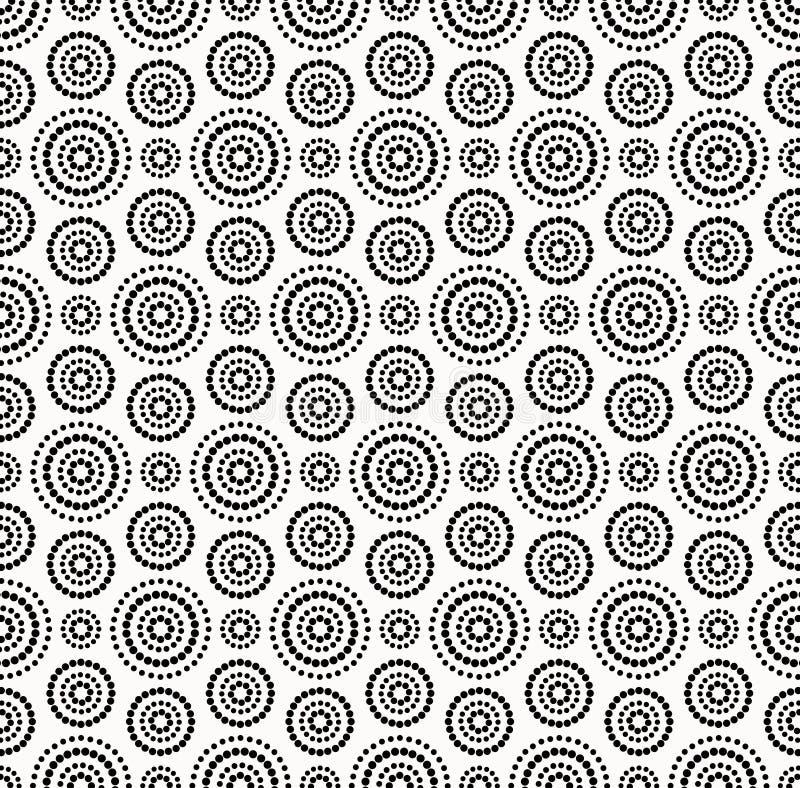 Черная картина кругов точек на белой предпосылке иллюстрация штока