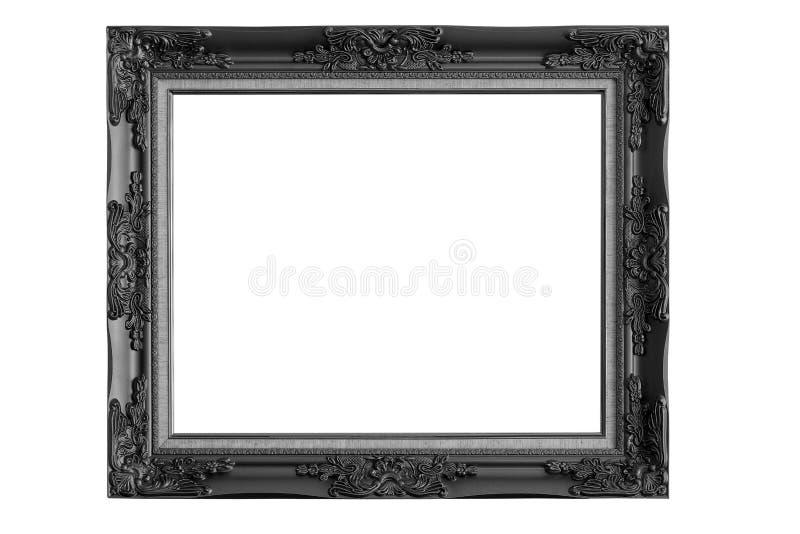 Черная картинная рамка изолированная на белой предпосылке стоковые фотографии rf