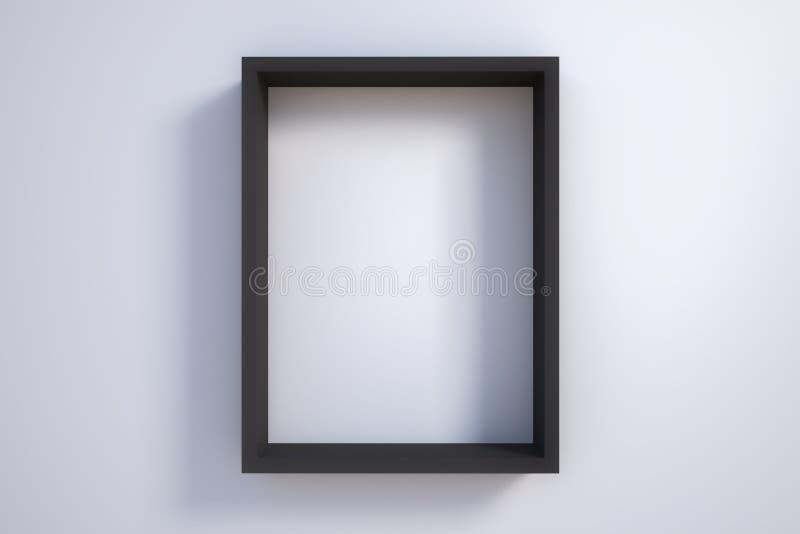 Черная картинная рамка на белой стене иллюстрация штока