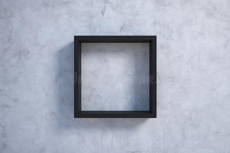 Черная картинная рамка на бетонной стене иллюстрация вектора