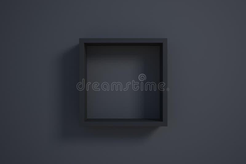 Черная картинная рамка на черной стене иллюстрация вектора