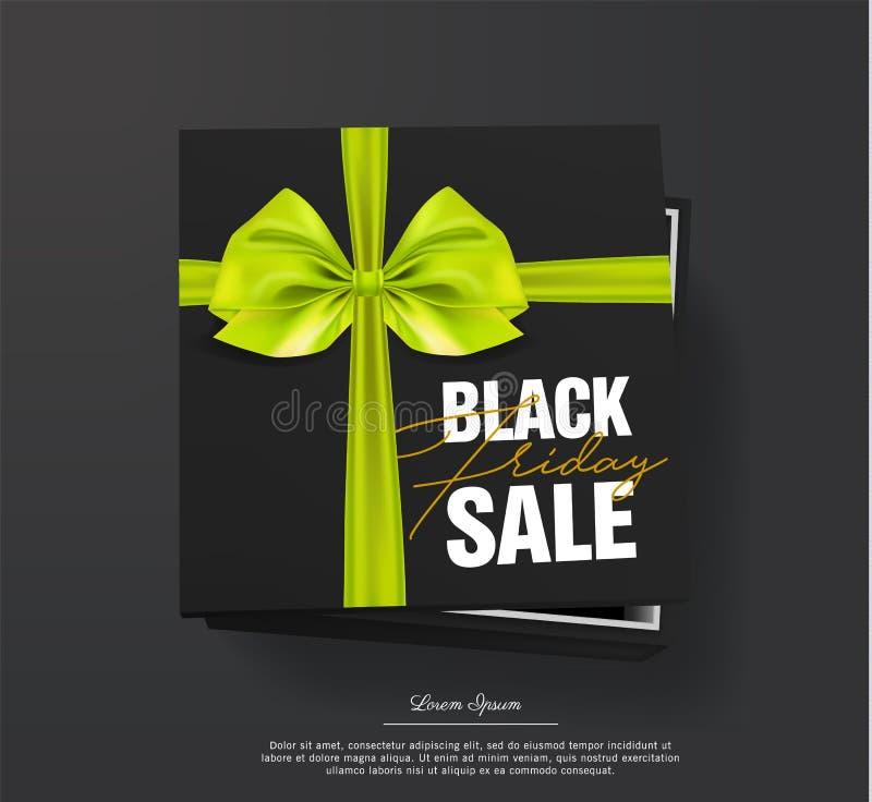 Черная картонная коробка черноты продажи пятницы связанная с золотым смычком ленты и золота лежит на черной предпосылке черный иллюстрация штока