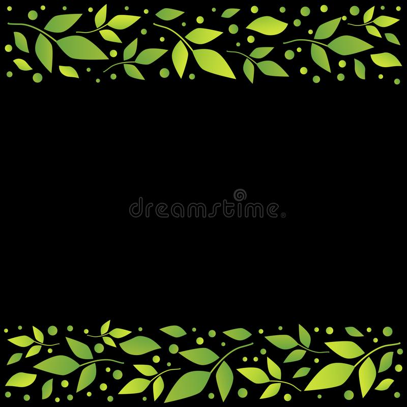 Черная квадратная предпосылка с декоративными нашивками выравнивает верхнее и внизу с зелеными листьями и точками иллюстрация вектора