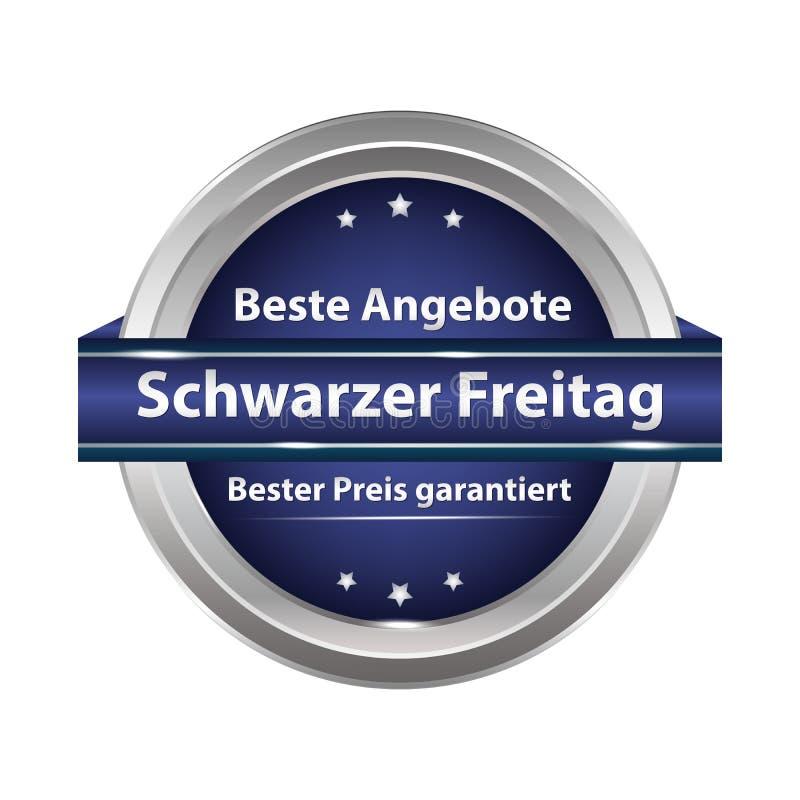 Черная кнопка продажи пятницы конструировала для немецкого розничного рынка бесплатная иллюстрация