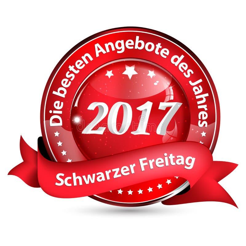 Черная кнопка пятницы 2017 конструировала для немецкого розничного рынка бесплатная иллюстрация