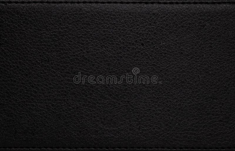Черная кожаная текстура Темная синтетическая материальная предпосылка Деталь грубой поверхности стоковые изображения