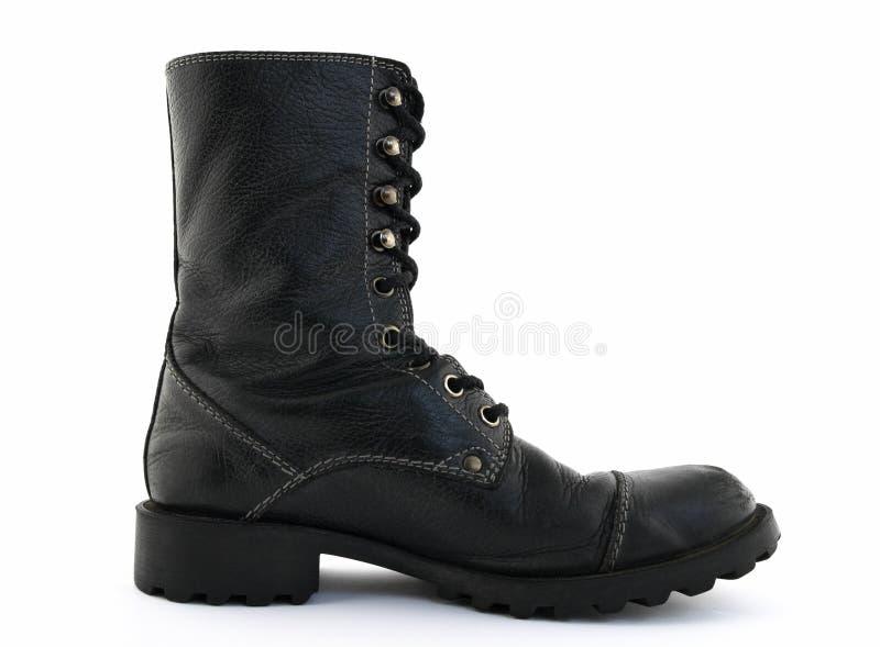 черная кожа ботинка стоковое фото