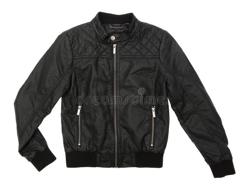 черная кожа куртки стоковое фото