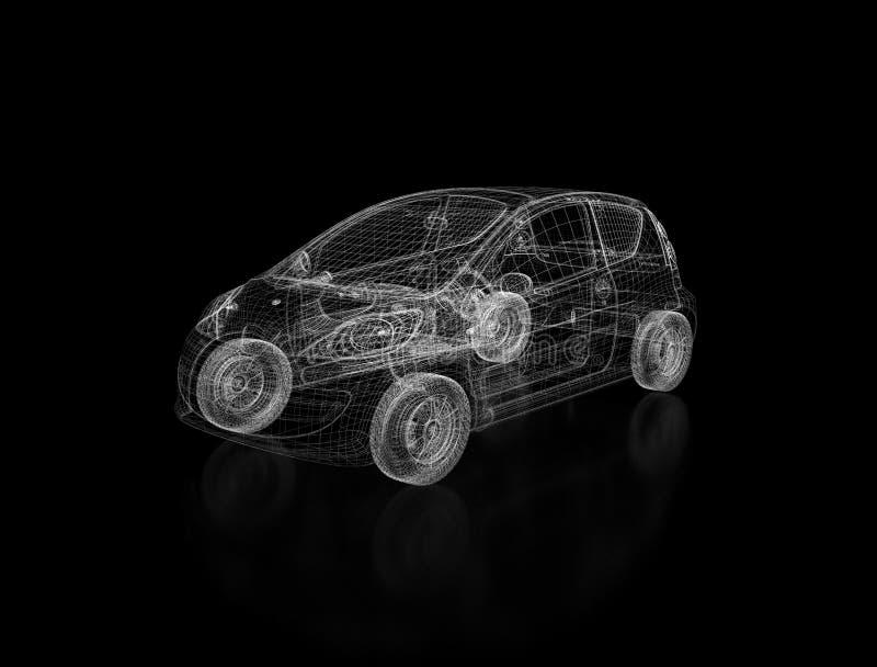 черная конструкция автомобиля 3d иллюстрация вектора