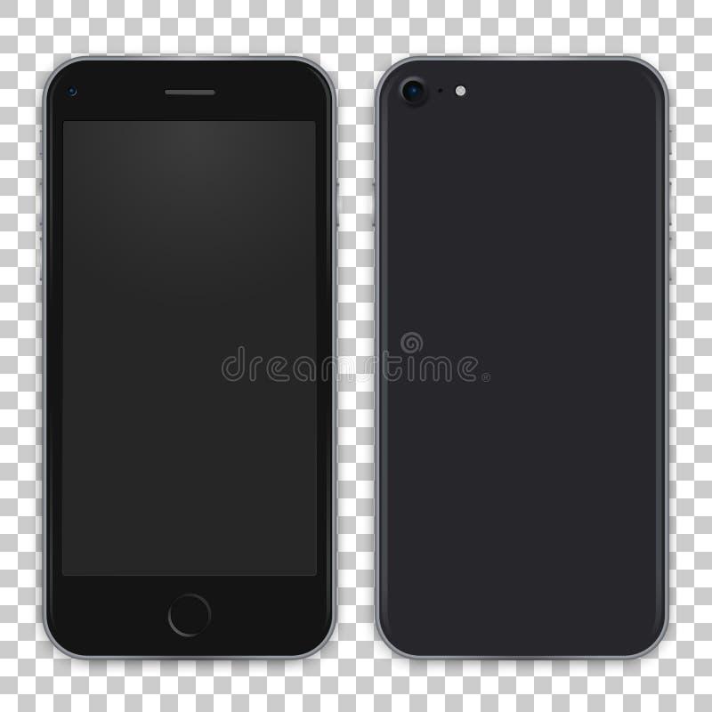 Черная концепция телефона от лицевой стороны и заднего взгляда иллюстрация вектора реалистическая бесплатная иллюстрация