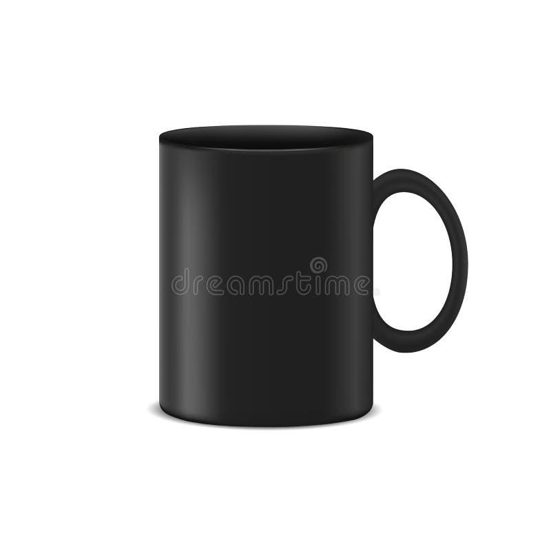 Черная кофейная чашка - реалистическая иллюстрация вектора - изолированная на белой предпосылке иллюстрация штока