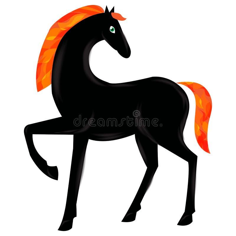 Черная красивая лошадь с пламенистой гривой и пламенистым кабелем, во иллюстрация штока