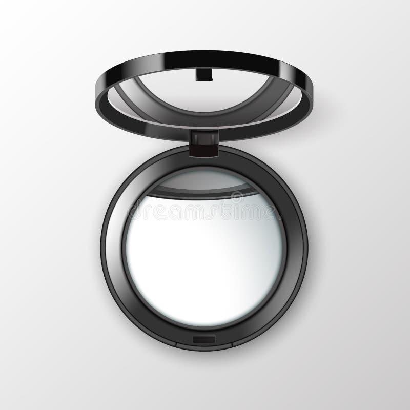 Черная круглая карманная косметика составляет малое зеркало на белой предпосылке иллюстрация штока