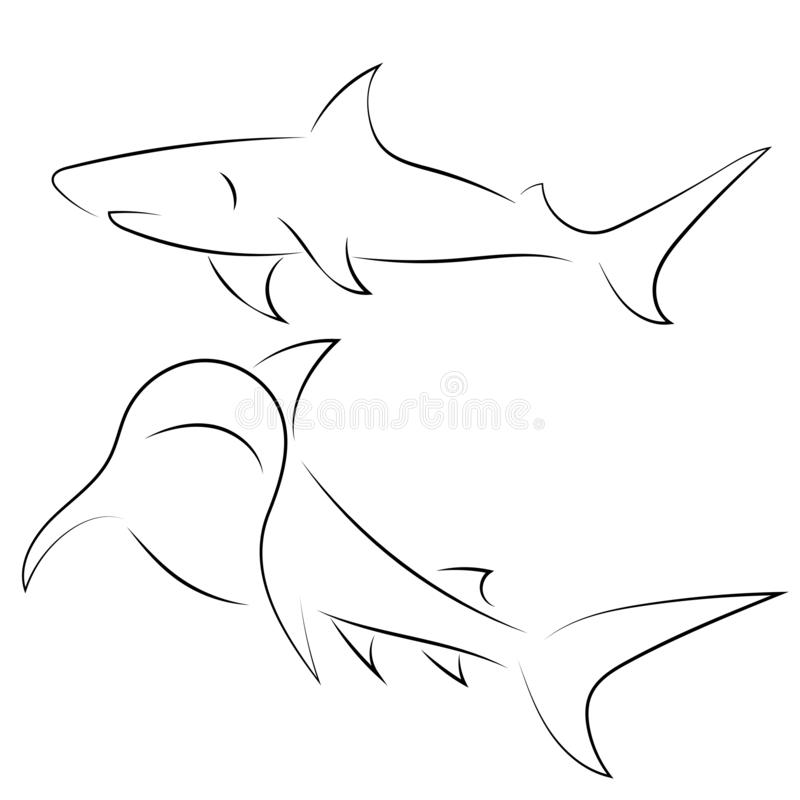 Черная линия акулы на белой предпосылке Эскиз руки вычерченный линейный иллюстрация вектора