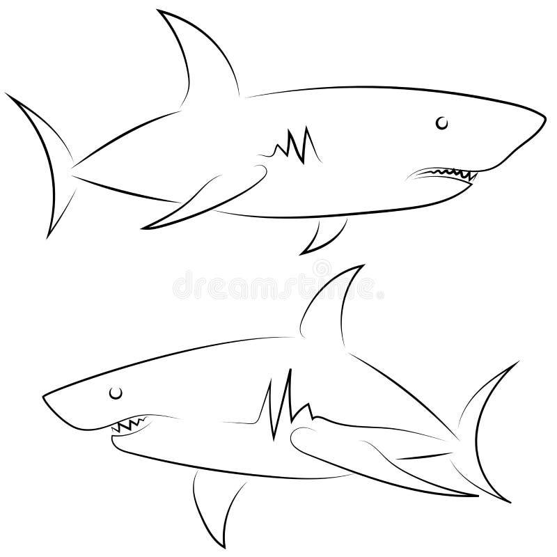 Черная линия акулы на белой предпосылке Эскиз руки вычерченный линейный Рыбы векторной графики Животная иллюстрация внезапный тип иллюстрация вектора
