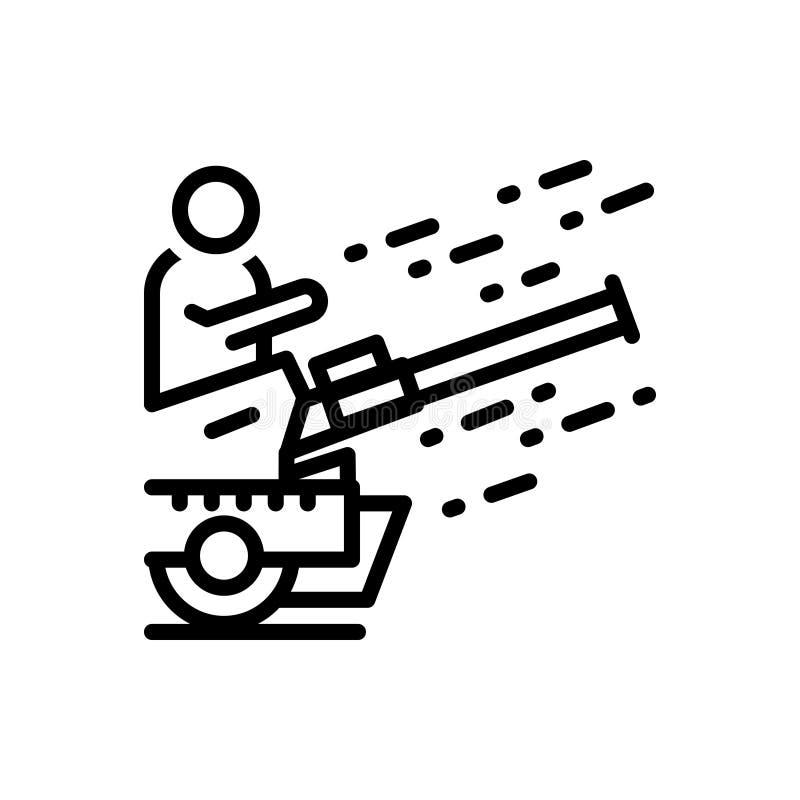 Черная линия значок для блицкрига, танка и войны иллюстрация вектора