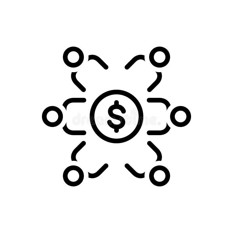 Черная линия значок для вклада, спонсорства и стратегического рекламодателя иллюстрация вектора