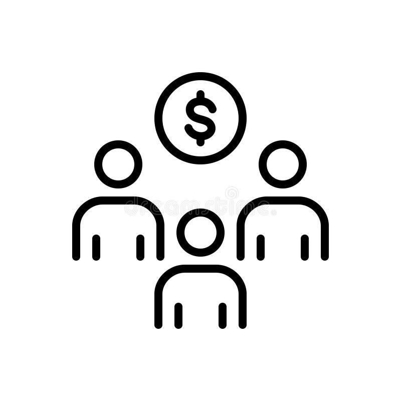 Черная линия значок для вклада, спонсорства и стратегического рекламодателя иллюстрация штока