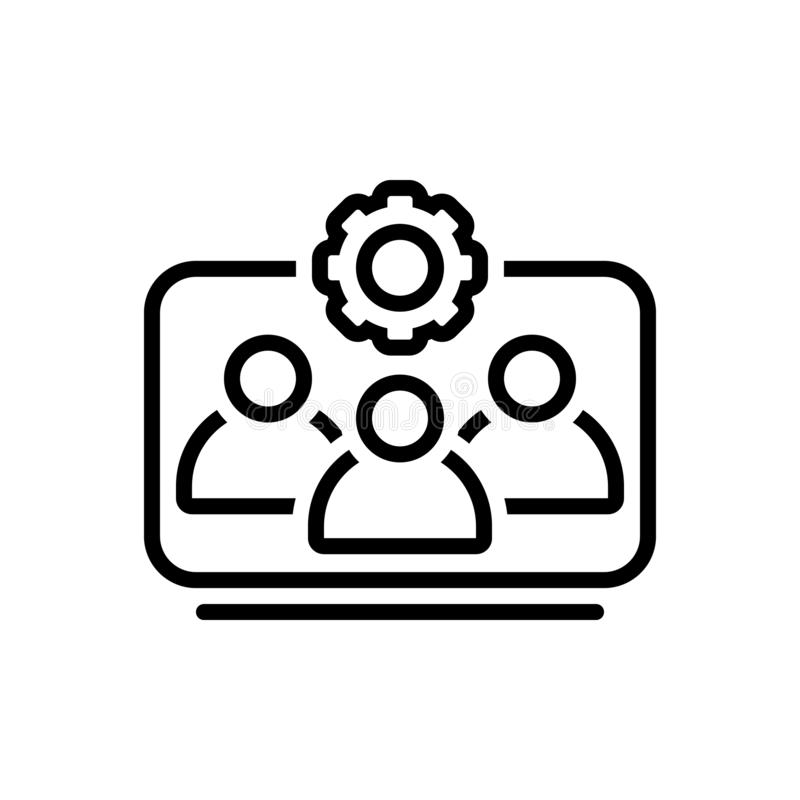 Черная линия значок для деятельности, рабочей силы и корпоративного команды иллюстрация штока