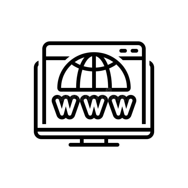 Черная линия значок для домена, поиска и сети иллюстрация вектора